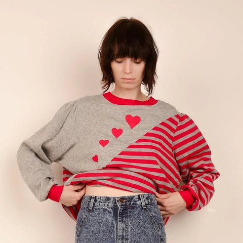 Vintage Hearts and Stripes Sweater / S/M