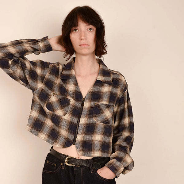 Vintage Cropped Navy and Beige Plaid Flannel Jacket / S/M