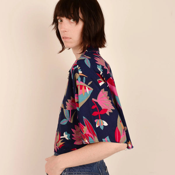 Vintage Candy Colored Abstract Floral Crop Blouse / S/M