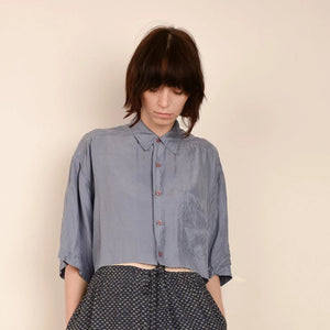 Vintage Powder Blue Cropped Silk Blouse  / S/M