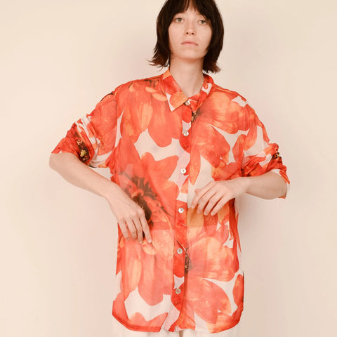 Vintage Orange Floral Mesh Blouse / S/M