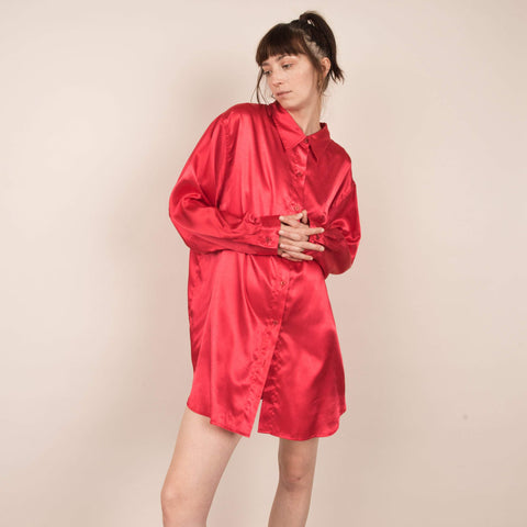 Vintage Oversized Ruby Red Satin Blouse / S/M