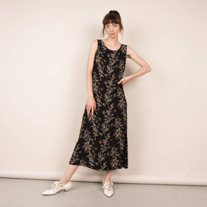 Vintage Bias Cut Black Floral Maxi Dress / S
