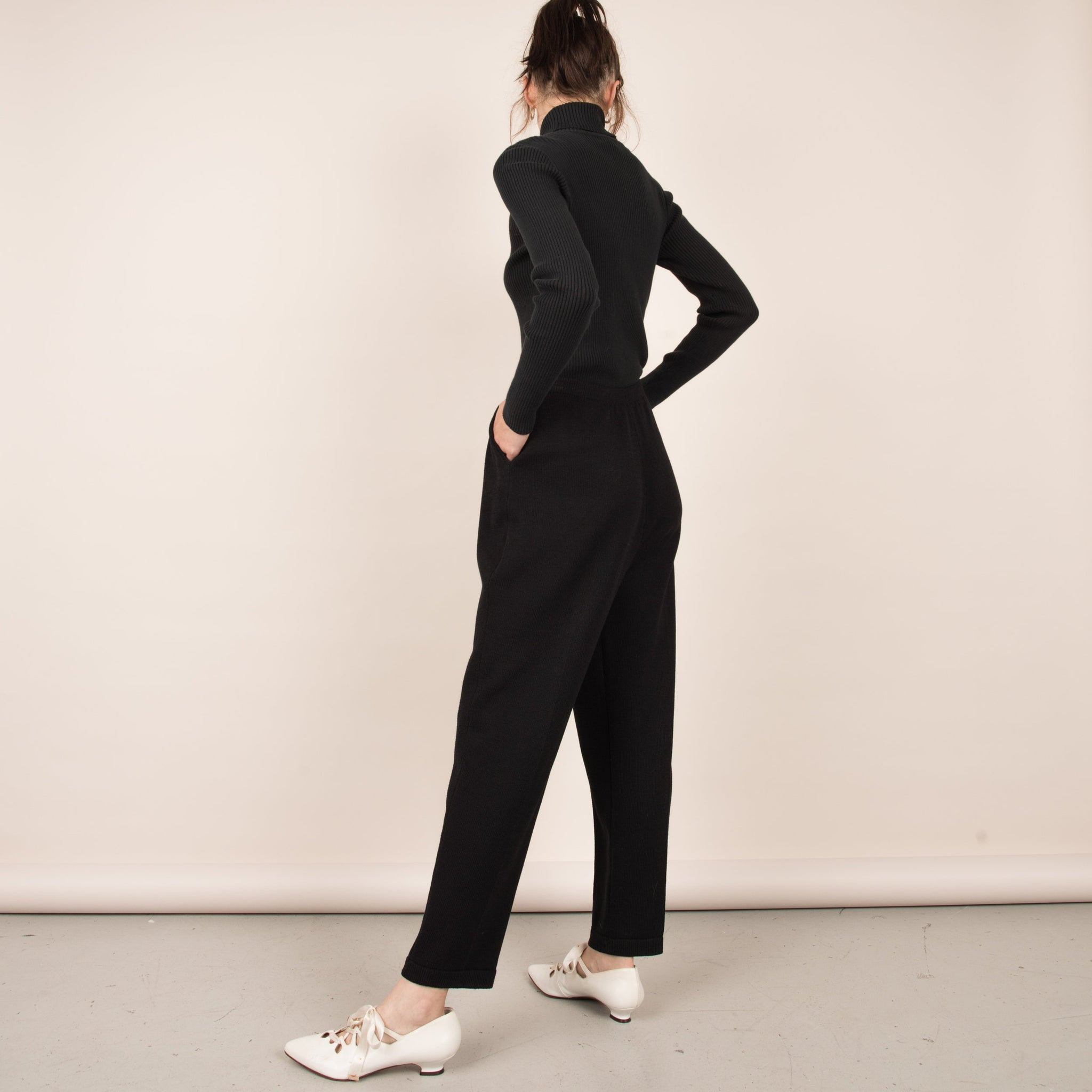Vintage Charcoal Knit Pleated Trousers / M/L