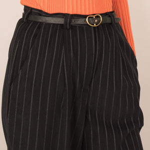 Vintage Black Pinstripe Cropped Mid Rise Trousers  / S/M/L
