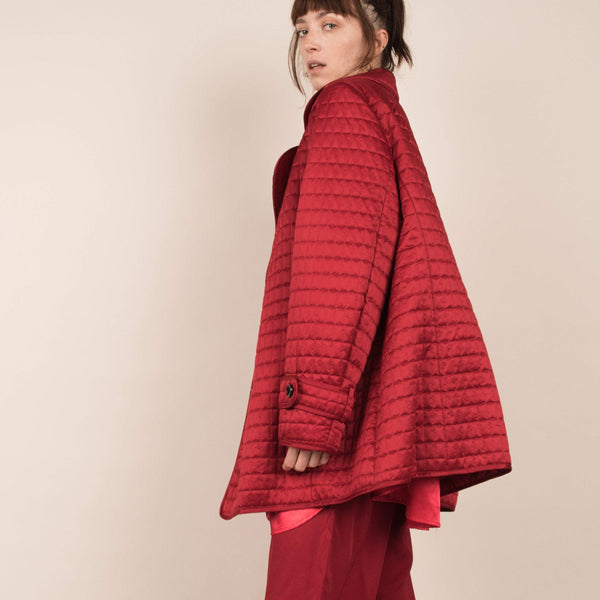 Vintage Ruby Red Quilted Oversized Jacket / S/M/L