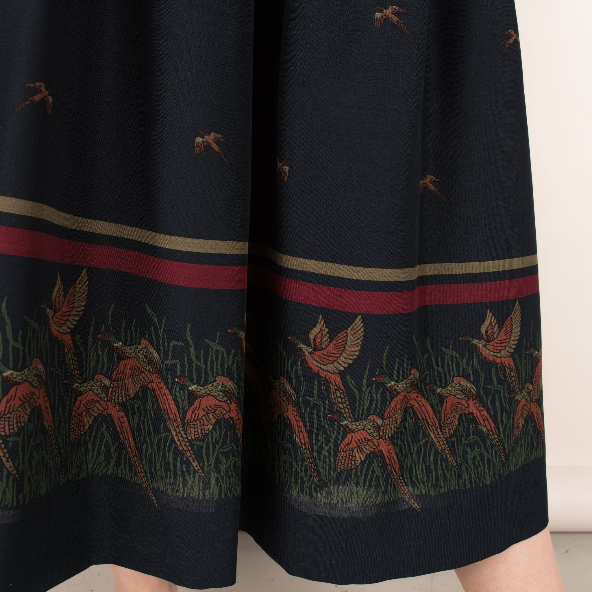 Vintage Navy Novelty Print Skirt  / XS/S