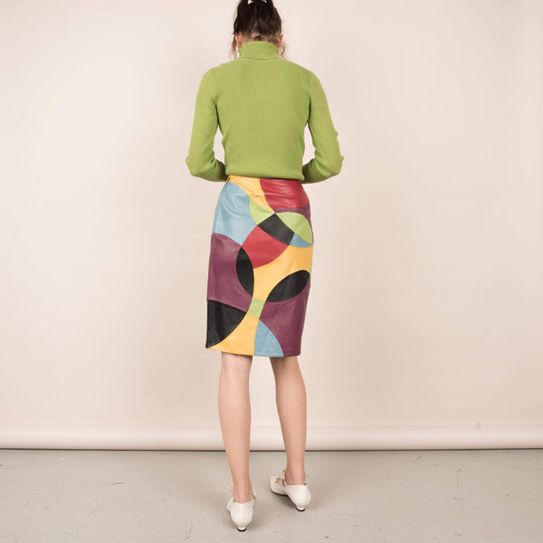 Vintage Color Blocking Abstract Patchwork Leather Skirt  / M/L