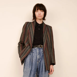 Vintage Grey Tweed Striped Blazer / S/M