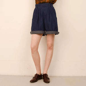 Vintage Dark Wash Pleated Denim Shorts  / S