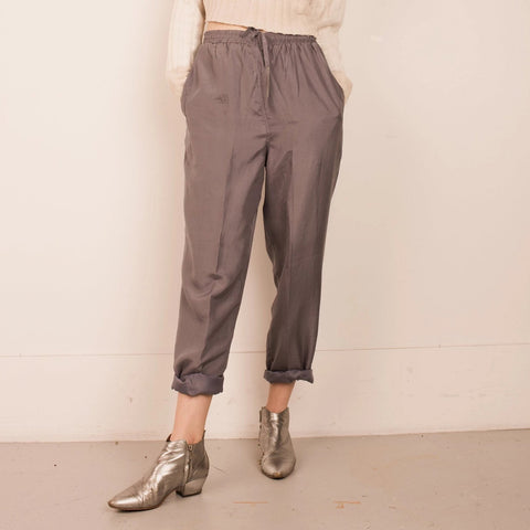 Slinky Sporty Grey Silk Pants / S/M
