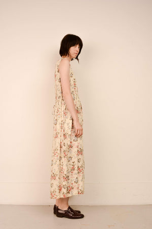 Vintage Floral Oversized Simple Summer Dress / S/M/L