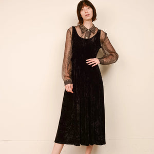 Vintage Velvet Bias Cut Sleeveless Dress / S