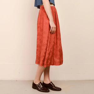 Vintage Flowy Rust Floral Skirt  / S - Closed Caption