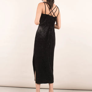 Vintage Black Velour Maxi Dress / S