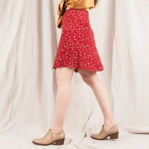 Vintage Cherry Red Floral Skirt/ S/M