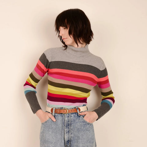 Vintage Rainbow Striped Turtleneck / S
