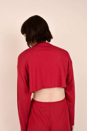 Vintage Wine Red Cropped Cardigan / S/M