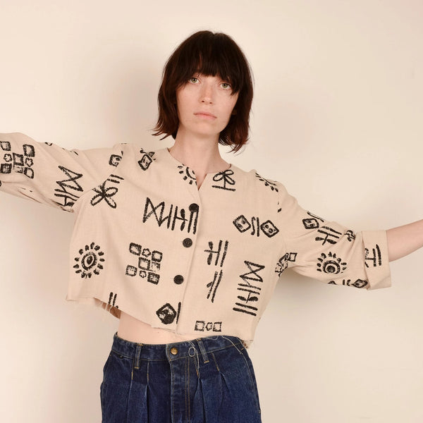 Vintage Oatmeal Abstract Cropped Jacket  / S/M