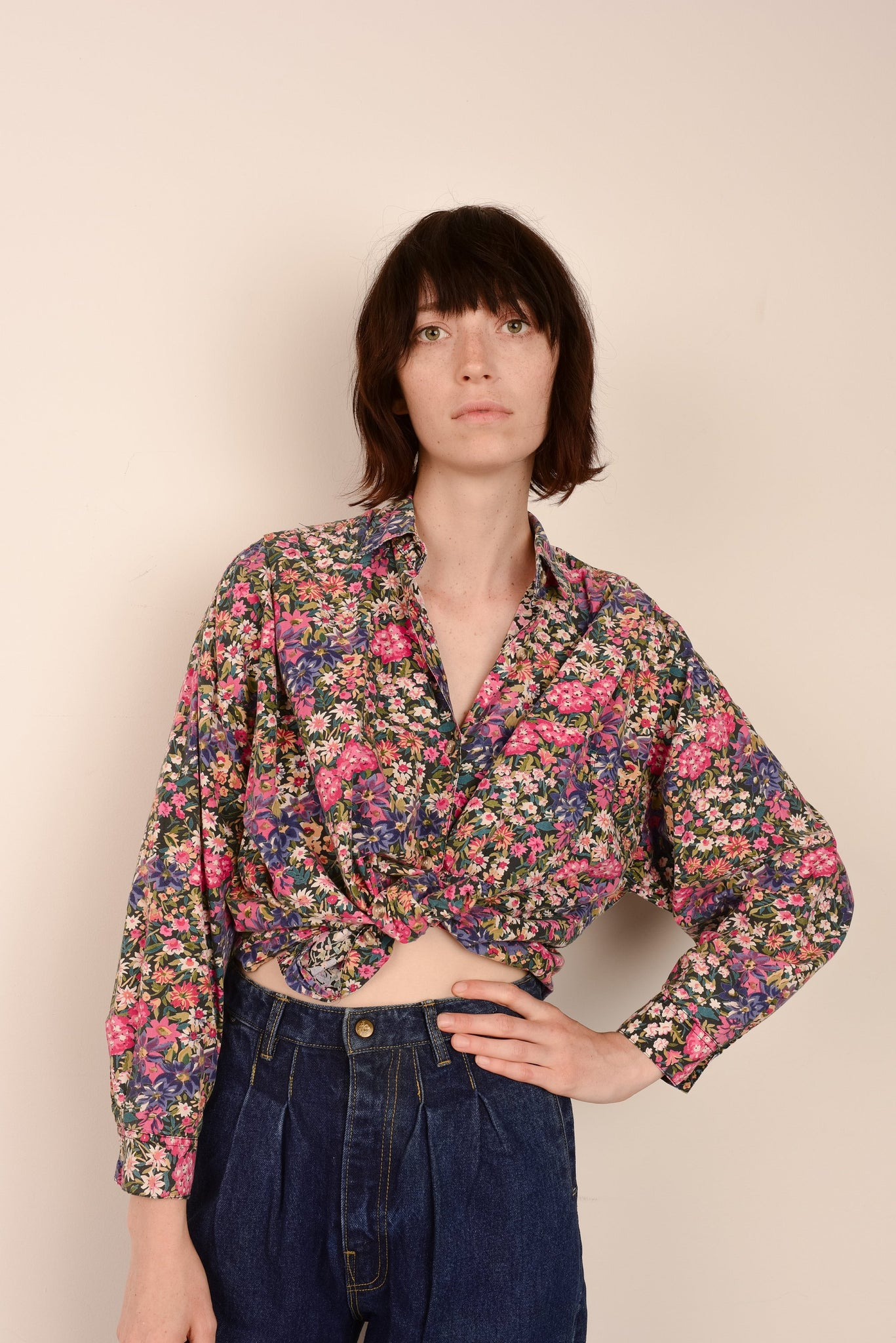 Vintage Washed Out Floral Shirt / S/M