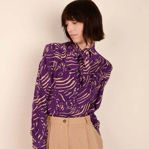Vintage Silk ERNST STRAUSS Abstract Blouse / S/M