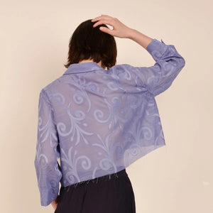 Vintage Lavender Semi Sheer Brocade Blouse  / S/M