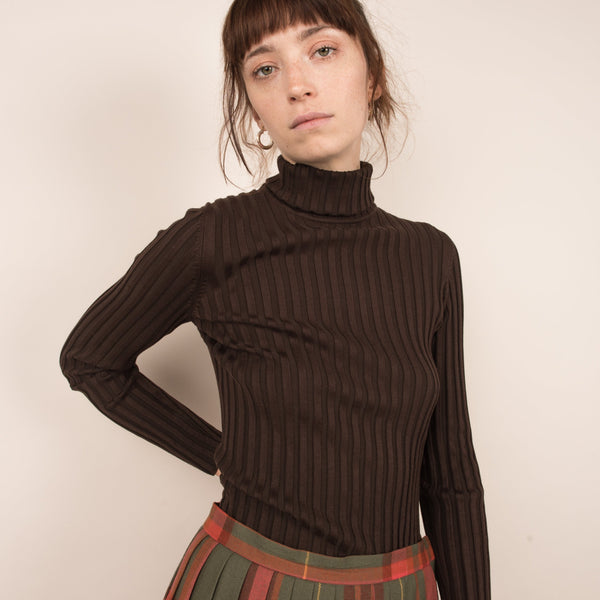 Vintage Chocolate Fudge Silk Ribbed Turtleneck / S/M