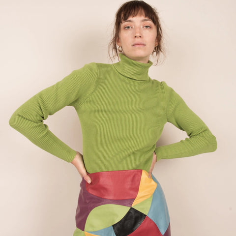 Vintage Lime Green Ribbed Turtleneck / S/M