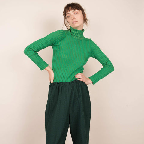 Vintage Emerald Green Ribbed Turtleneck / S/M