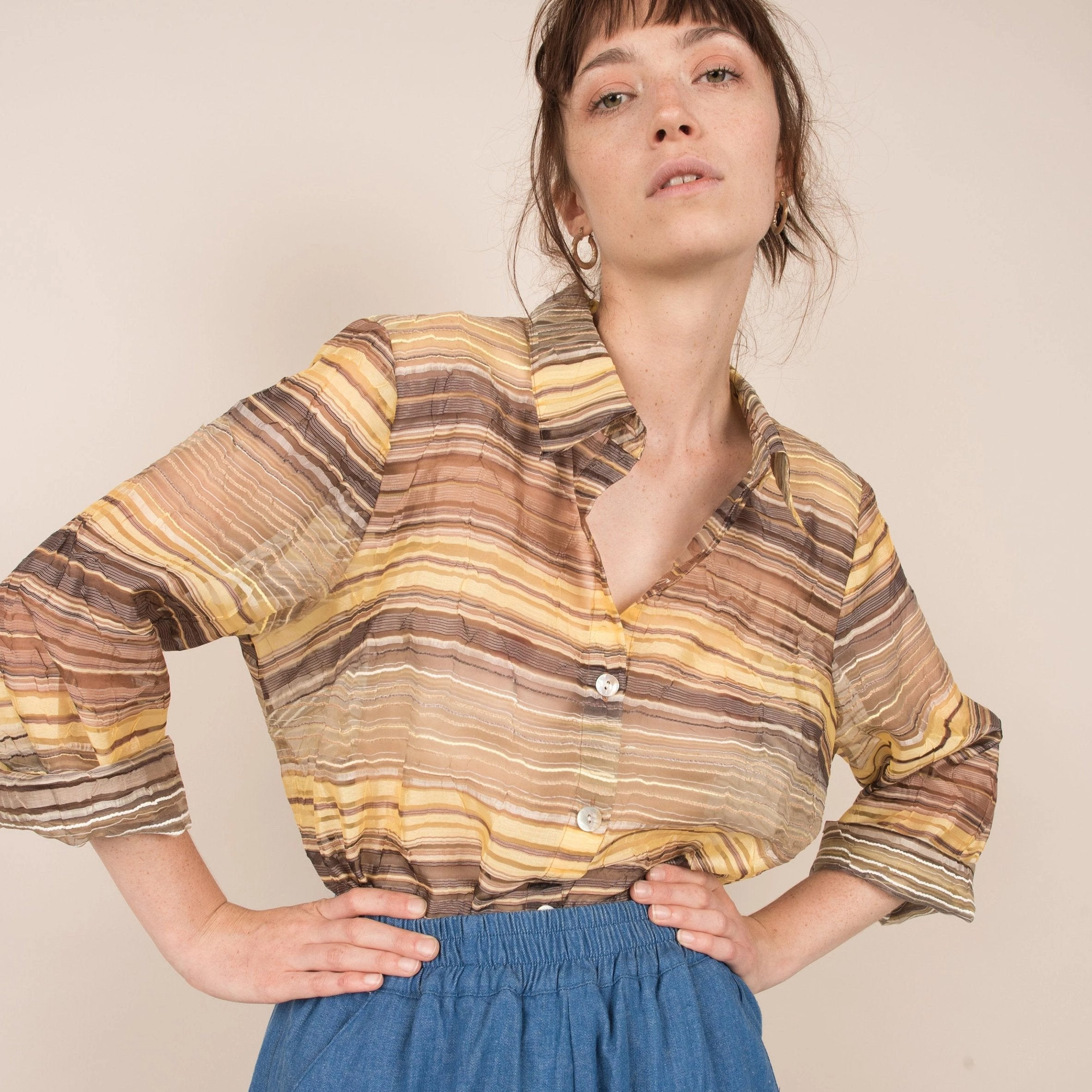 Vintage Earthtones Oversized Striped Organza Shirt / S/M
