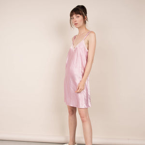 Vintage Oversized Baby Pink Slip Dress / S/M/L