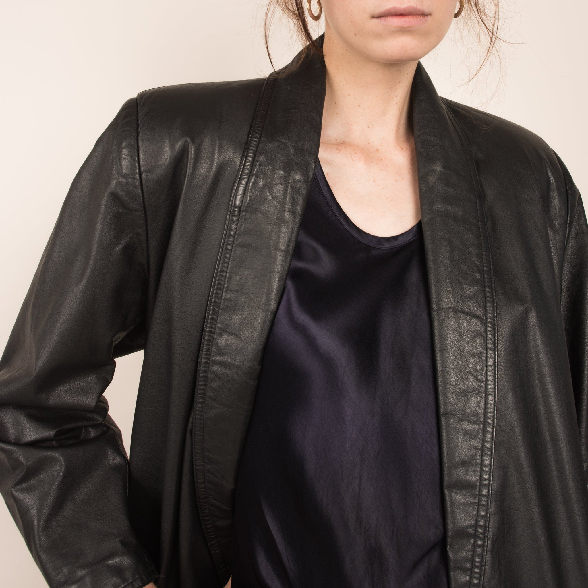 Vintage Charcoal Leather Coat / S