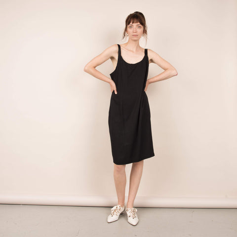 Vintage Oversized Black Slip Dress / S/M/L