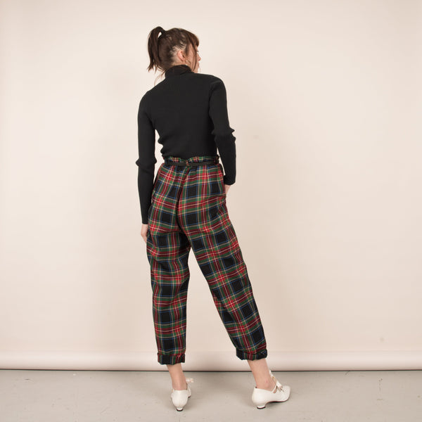 Vintage Plaid PENDLETON High Rise Trousers  / S/M/L