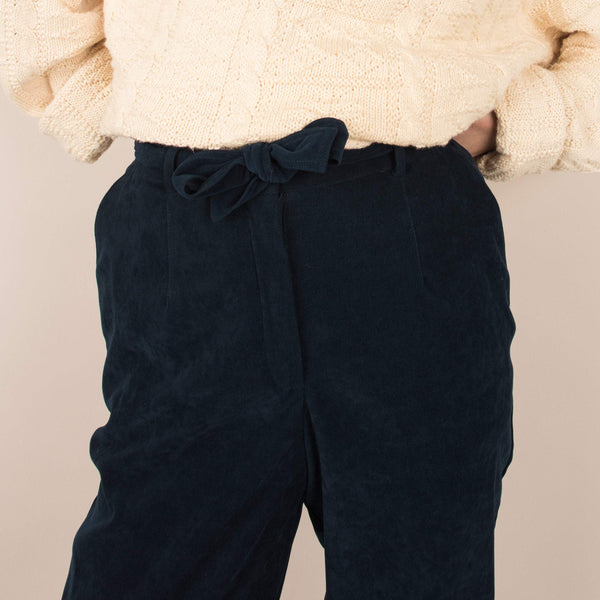 Vintage Navy Faux Suede Tapered Trousers  / S