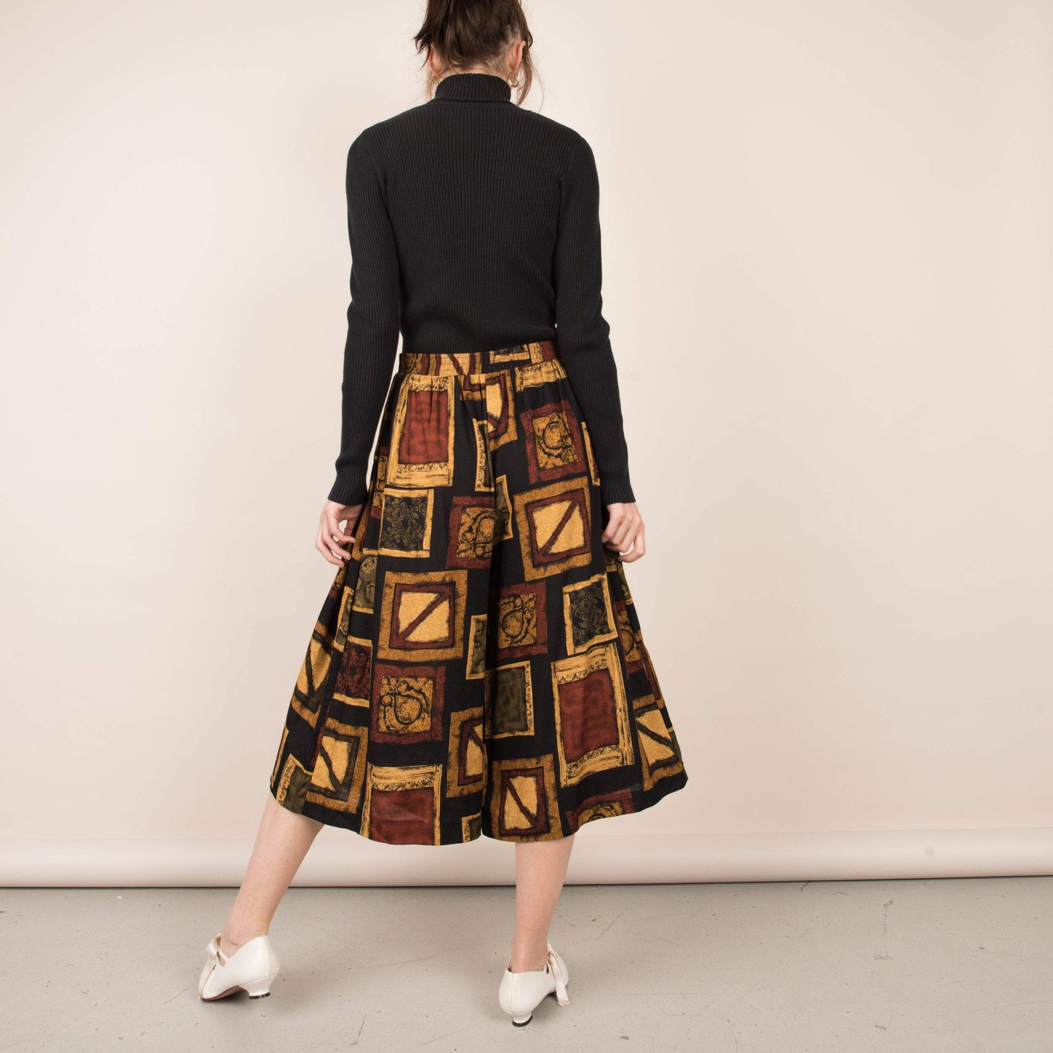 Vintage Earthtone Abstract Cropped Culottes   / M/L