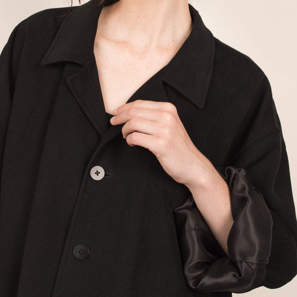 Vintage Black Oversized Twill Jacket / S/M/L
