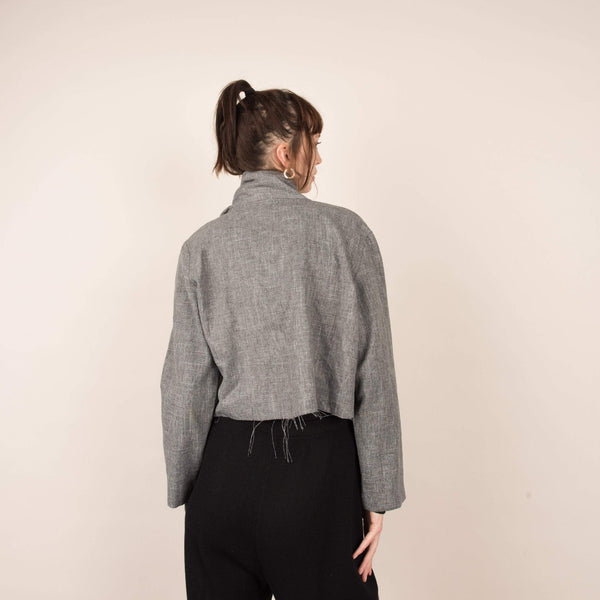 Vintage Grey Scratched Cropped Light Weight Jacket / S/M