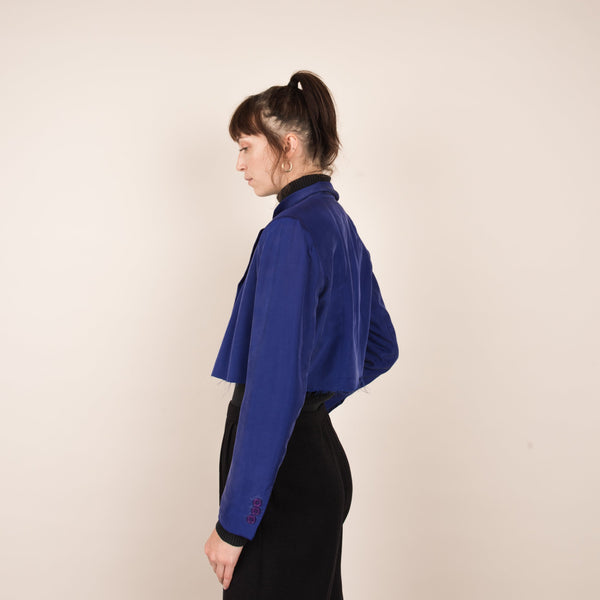 Vintage Royal Blue Silk Cropped Light Weight Jacket / S/M