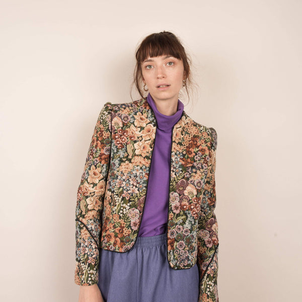Vintage Floral Structured Tapestry Jacket / S