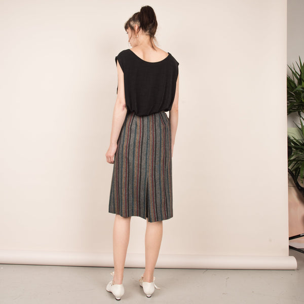 Vintage Heather Grey Striped Pleated Pencil Skirt  / XS