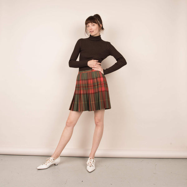 Vintage Plaid Pleated Wool Skirt  / M