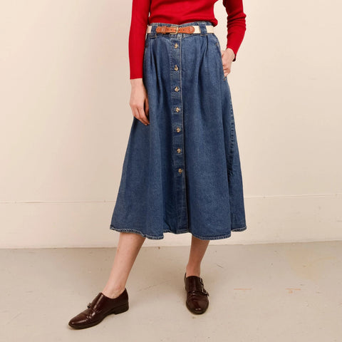 Vintage Medium Wash High Rise Denim Skirt  / S