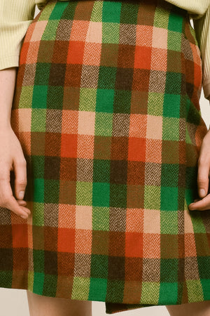 Vintage 70s Plaid Wool Wrap Skirt  / XS