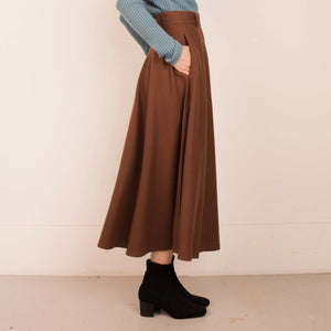 Vintage Chocolate Wool Full Skirt  / XS/S - Closed Caption