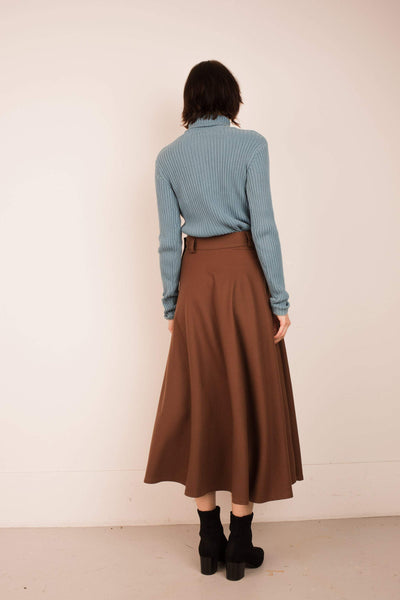 Vintage Chocolate Wool Full Skirt  / XS/S