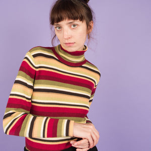 Vintage Striped Turtleneck  / S/M