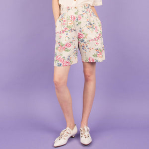 Vintage Creme + Pastel Floral Shorts  / S - Closed Caption