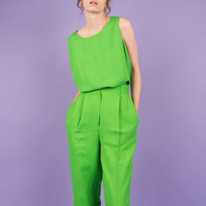 Vintage Apple Green Linen Two Piece Set / S