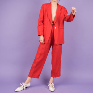 Vintage Chilli Red Linen Two Piece Suit Set / S/M/L
